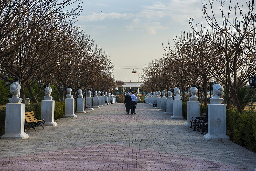 Statue alley in the Minare Park and Shanadar Park in Erbil (Hawler), capital of Iraq Kurdistan, Iraq, Middle East