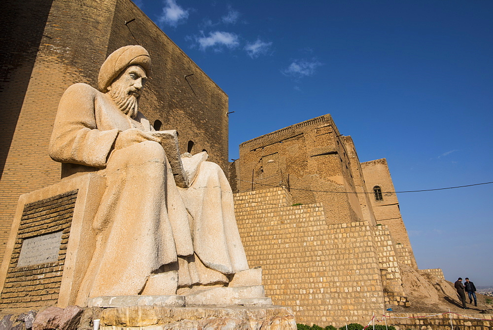 Giant statue of Mubarek Ahmed Sharafaddin in front of the citadel of Erbil (Hawler), capital of Iraq Kurdistan, Iraq, Middle East