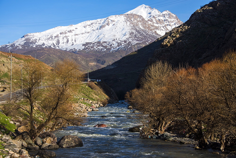 Snow capped mountains above the great Zab River along the Hamilton road leading into Iran, Iraq Kurdistan, Iraq, Middle East