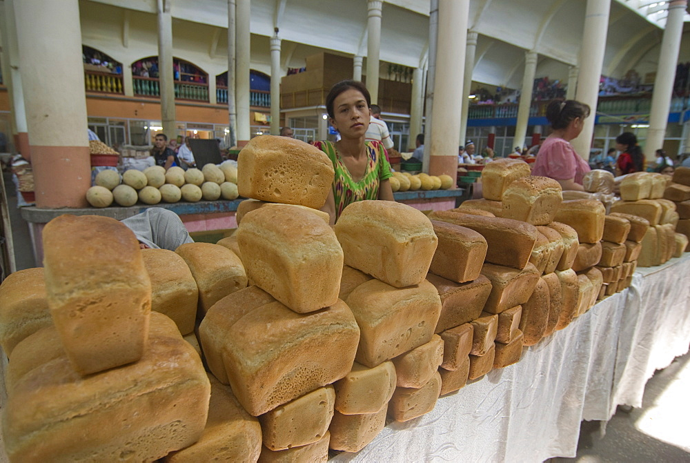 Market stand with bread at Central bazaar, Khojand, Tajikistan, Central Asia