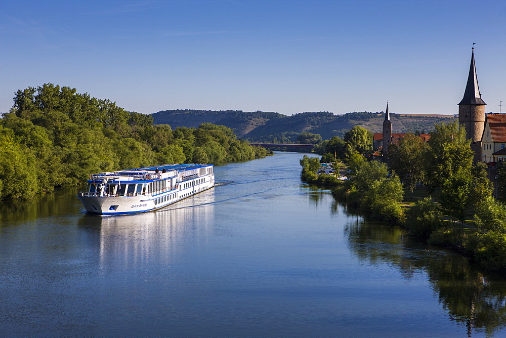 Cruise ship on the Main valley near Karlstadt, Franconia, Bavaria, Germany, Europe