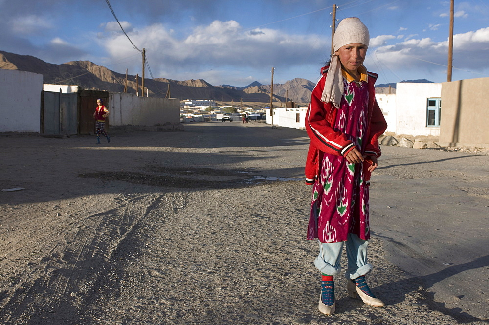 Serious girl in her village, Murgab, Tajikistan, Central Asia, Asia