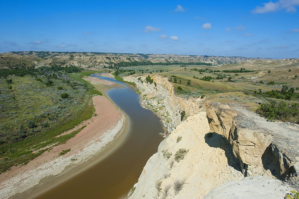River bend in the Roosevelt National Park, North Dakota, United States of America, North America