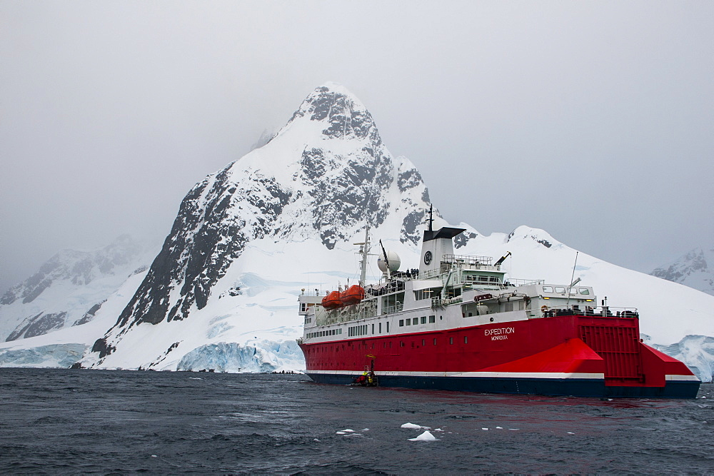 Cruise ship in the Lemaire Channel, Antarctica, Polar Regions