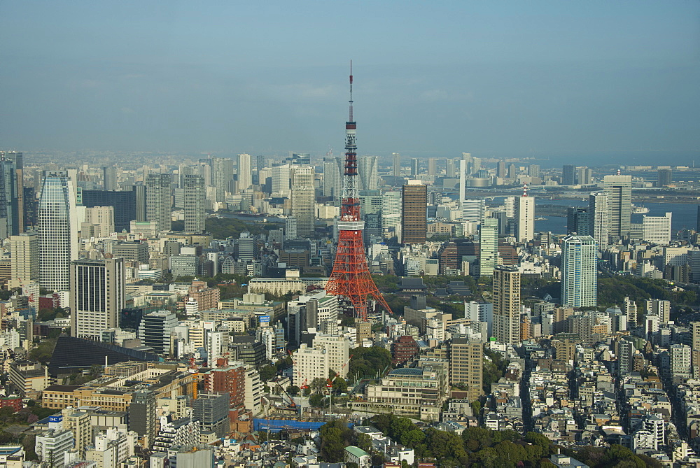View over Tokyo with the Tokyo Tower, from the Mori tower, Roppongi Hills, Tokyo, Japan, Asia