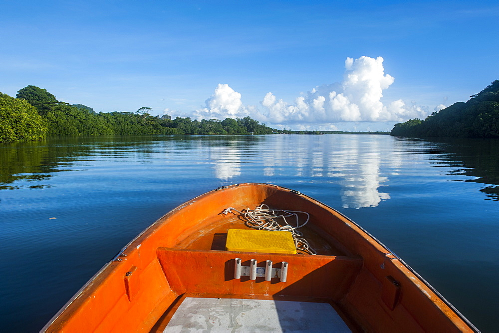 Boat cruising on a river in Pohnpei (Ponape), Federated States of Micronesia, Caroline Islands, Central Pacific, Pacific
