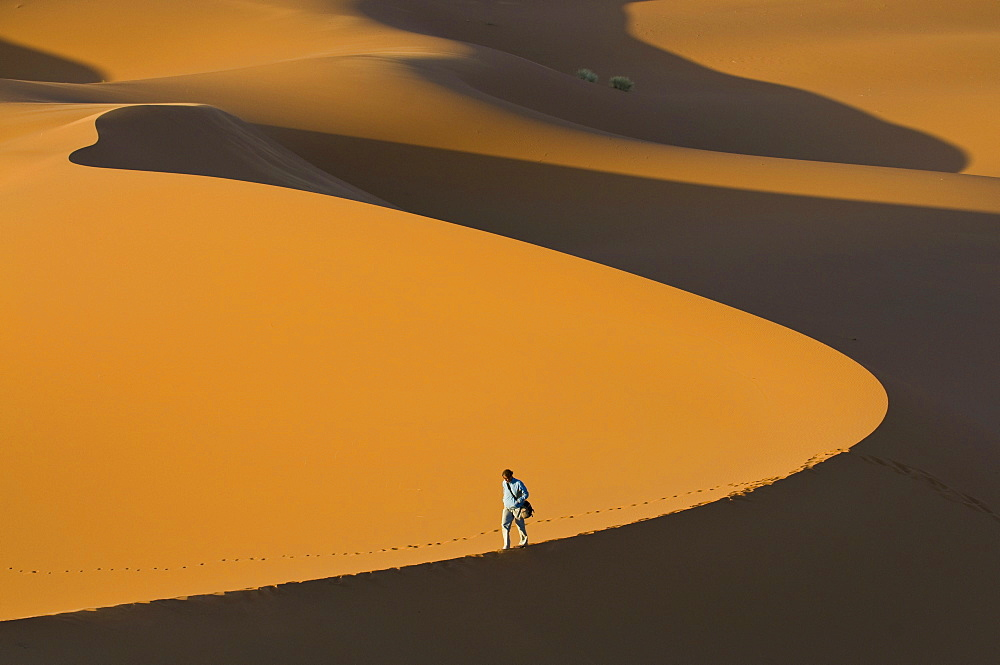 Tourist walking along a giant sand dune, Merzouga, Morocco, North Africa, Africa - 816-47