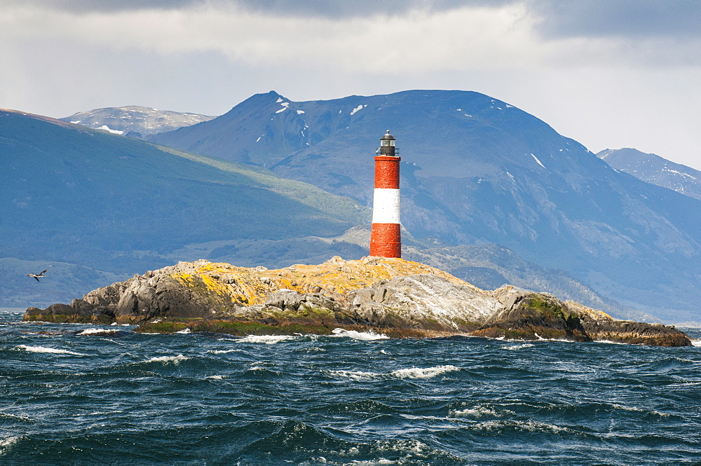 Lighthouse on an Island in the Beagle Channel, Ushuaia, Tierra del Fuego, Argentina, South America
