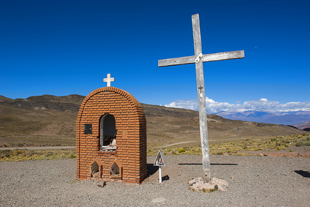 Christian sanctuary on a mountain pass near Mendoza, Argentina, South America
