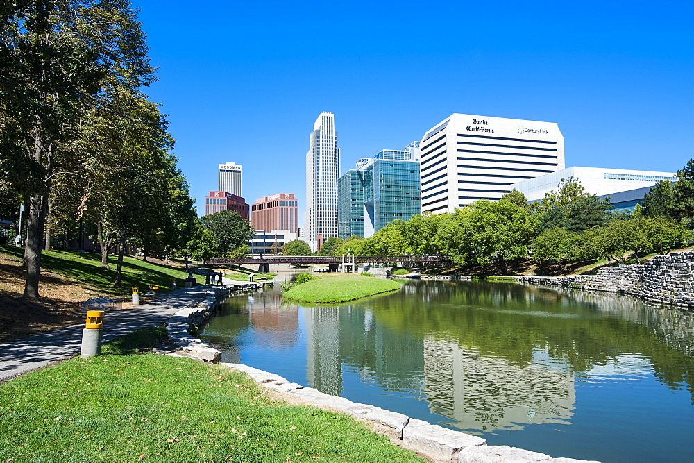 City park lagoon with downtown Omaha, Nebraska, United States of America, North America