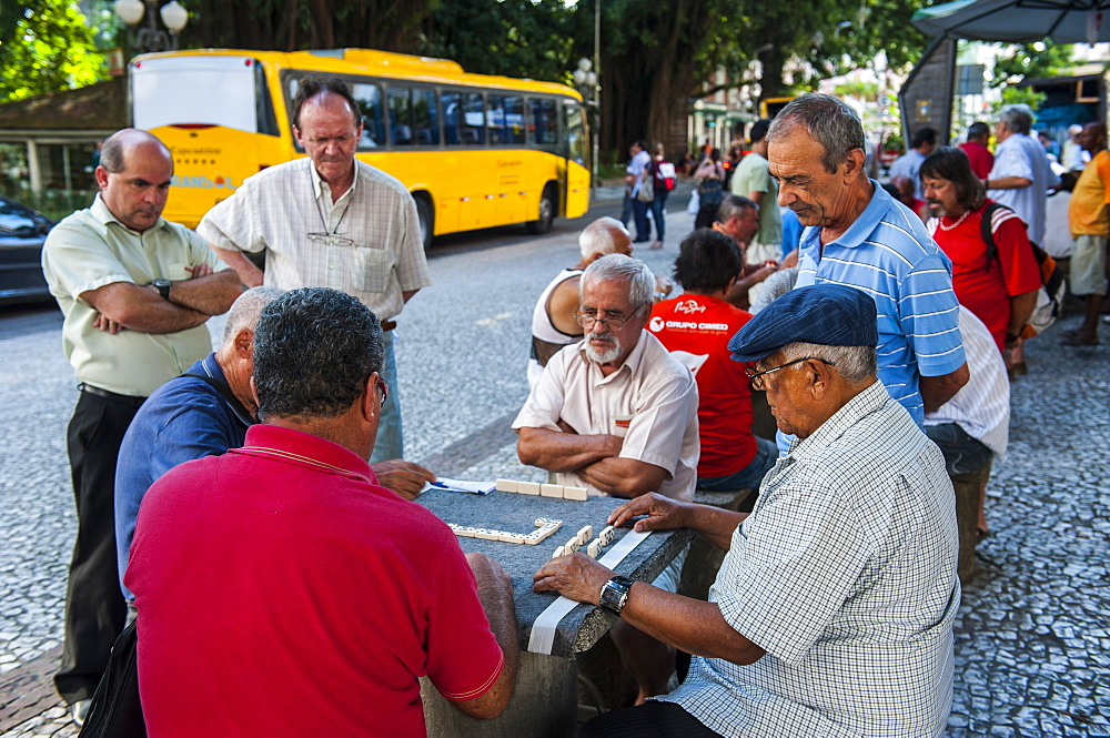 Men playing domino in the center of Florianopolis. Santa Catarina State, Brazil, South America