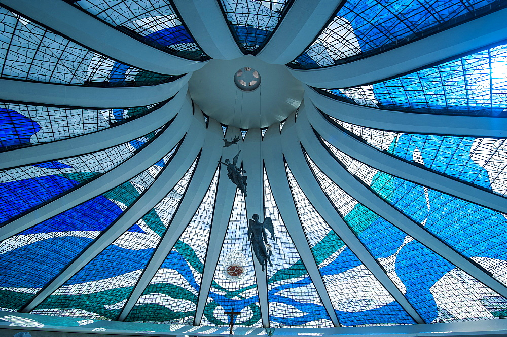 Stained glass in the Metropolitan Cathedral of Brasilia, UNESCO World Heritage Site, Brazil, South America