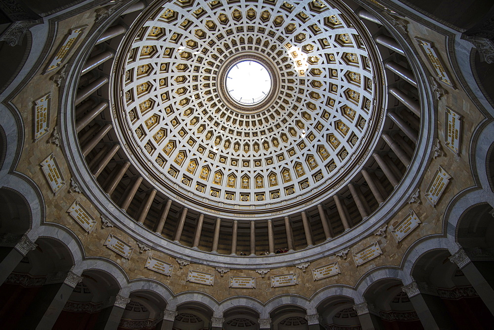 Round cupola of the Befreiungshalle (Hall of Liberation) upon Mount Michelsberg above the city of Kelheim, Bavaria, Germany, Europe