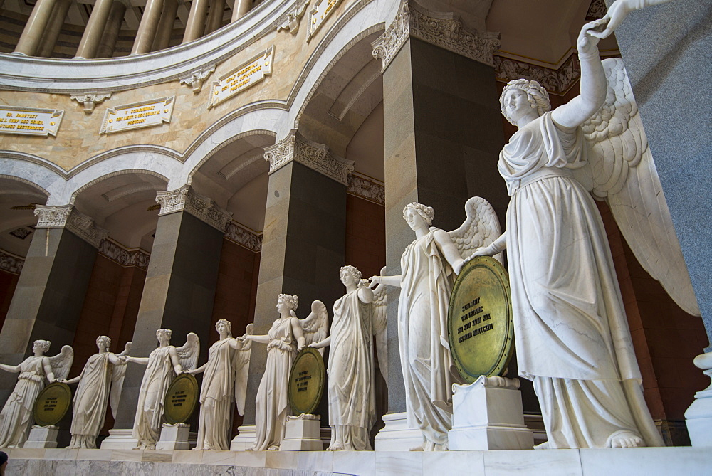 Statues in the Befreiungshalle (Hall of Liberation) upon Mount Michelsberg above the city of Kelheim, Bavaria, Germany, Europe