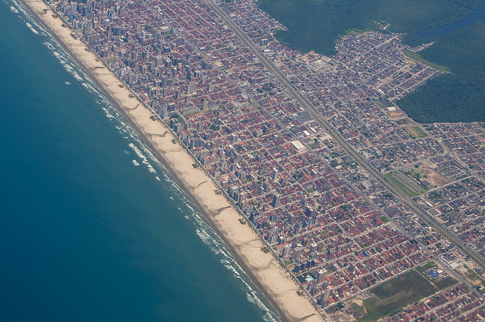 Aerial of the beach of Mongagua near Sao Paulo, Brazil, South America