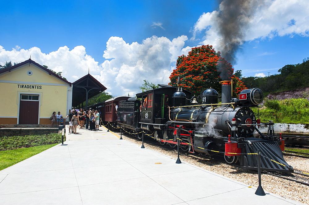 Historical steam train Maria Fuma ßa in Tiradentes, Minas Gerais, Brazil, South America