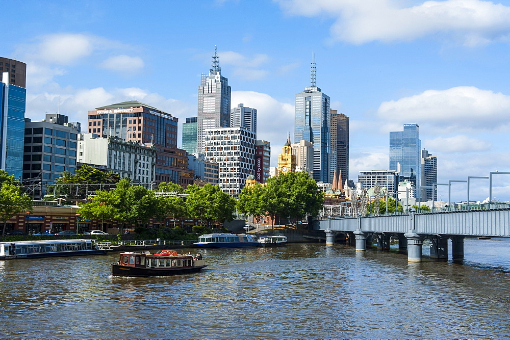 High rise buildings on the Yarra River flowing through Melbourne, Victoria, Australia, Pacific