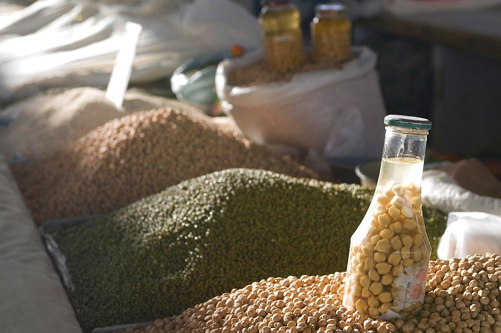 Pulses at market, Samarkand, Uzbekistan, Central Asia, Asia