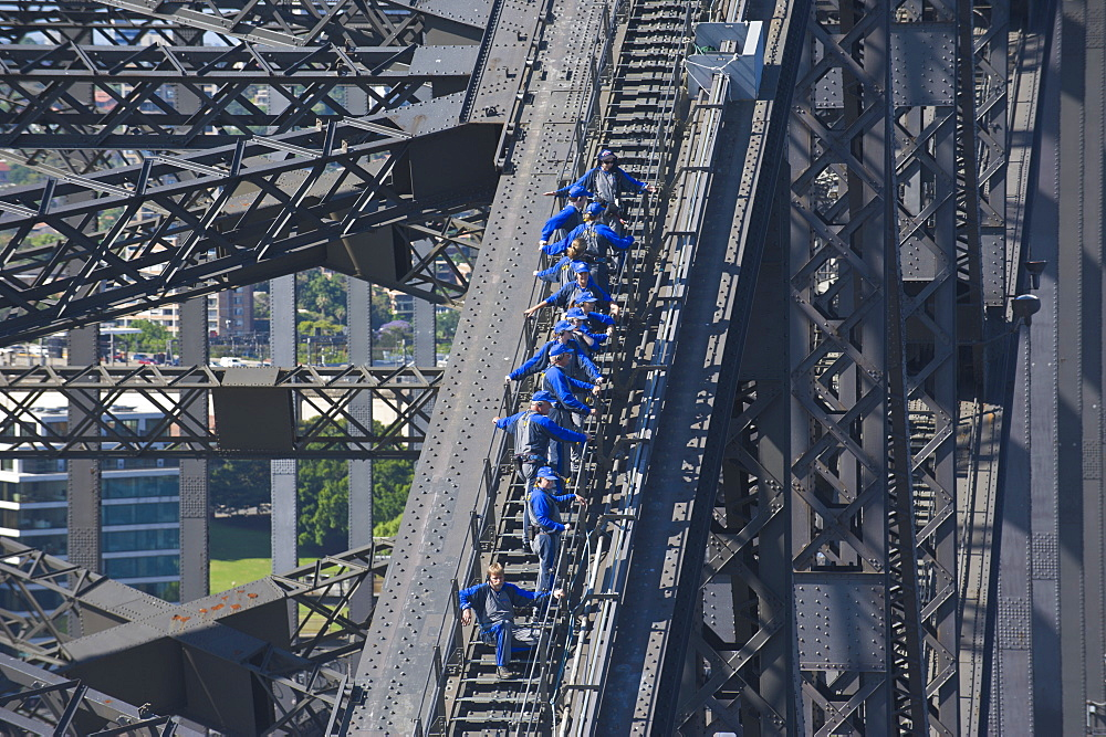 Tourists climbing on the Sydney harbour bridge, Sydney, New South Wales, Australia, Pacific