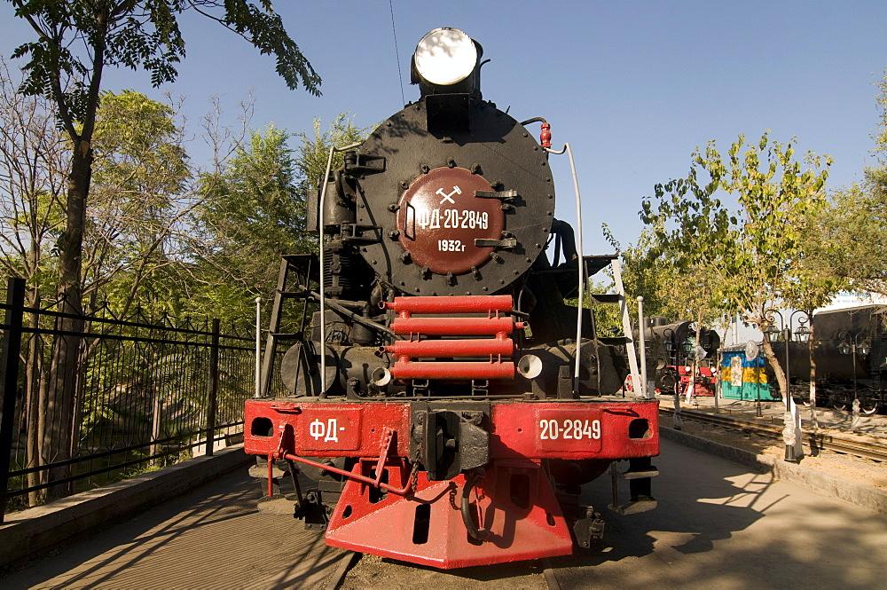 Front of an old  locomotive, Railway Museum, Tashkent, Uzbekistan, Central Asia, Asia