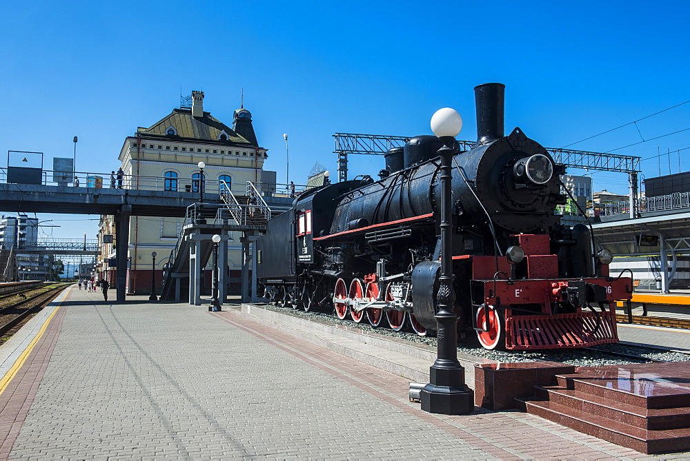 Old steam engine at the final railway station of the Trans-Siberian railway in Vladivostok, Russia, Eurasia
