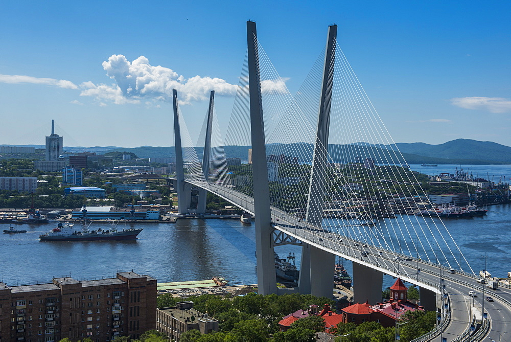 Overlook over Vladivostok and the new Zolotoy Bridge from Eagle's Nest Mount, Vladivostok, Russia, Eurasia