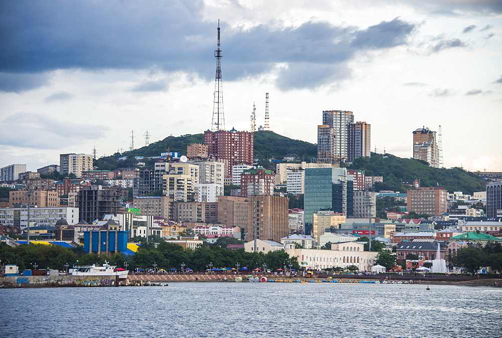 The skyline of Vladivostok, Russia, Eurasia