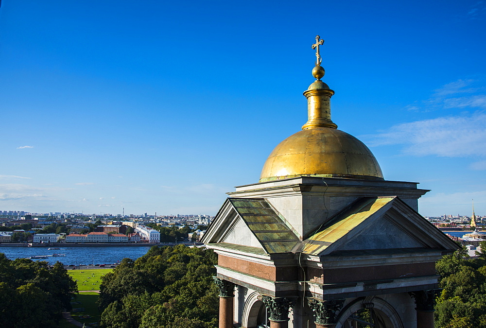 View from St. Isaac's Cathedral with a golden cupola, St. Petersburg, Russia, Europe