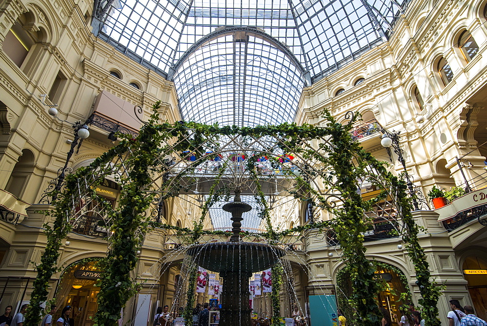 Inside GUM, the largest department store in Moscow, Russia, Europe