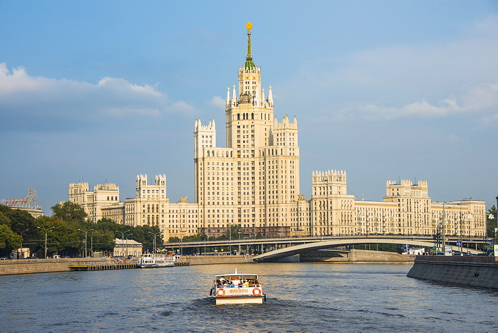 River cruise along the Moskva River (Moscow River) in front of one of the Stalin towers, Moscow, Russia, Europe