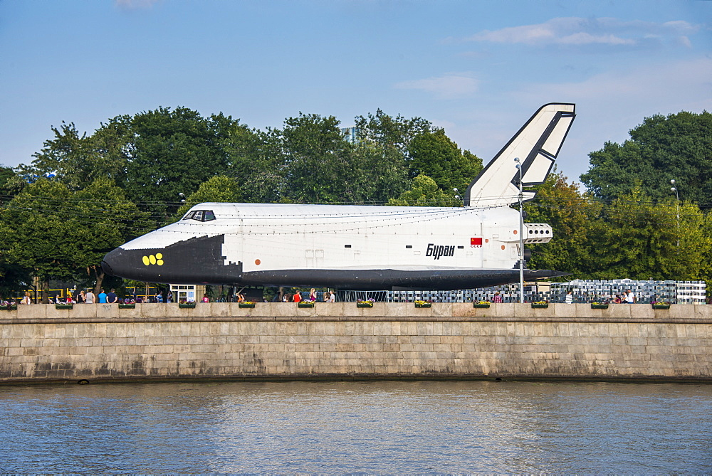 Buran space shuttle test vehicle in the Gorky Park on the Moscow River, Moscow, Russia, Europe