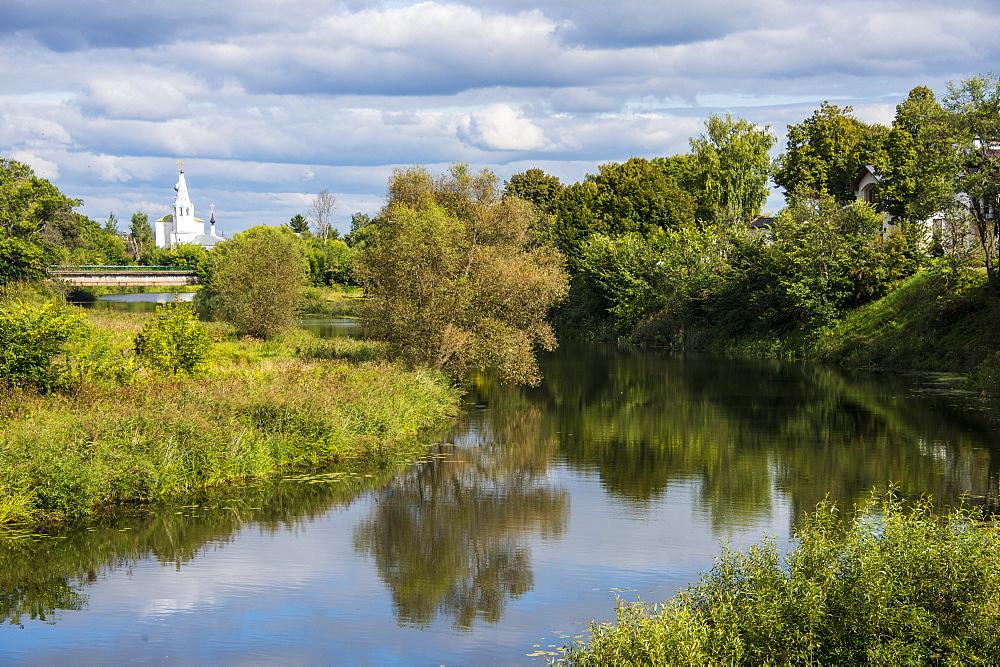 The Kamenka River flowing through Suzdal, Golden Ring, Russia, Europe