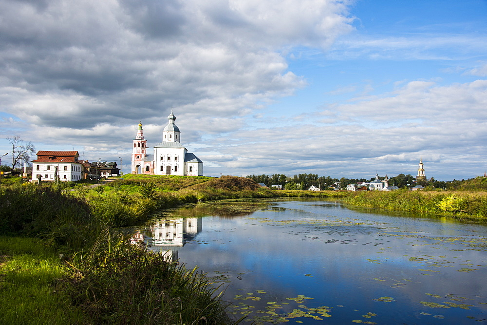 Abandonded church reflecting in the Kamenka River in the UNESCO World Heritage Site, Suzdal, Golden Ring, Russia, Europe