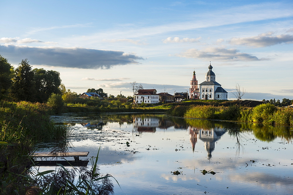 Abandonded church reflecting in the Kamenka River, UNESCO World Heritage Site, Suzdal, Golden Ring, Russia, Europe