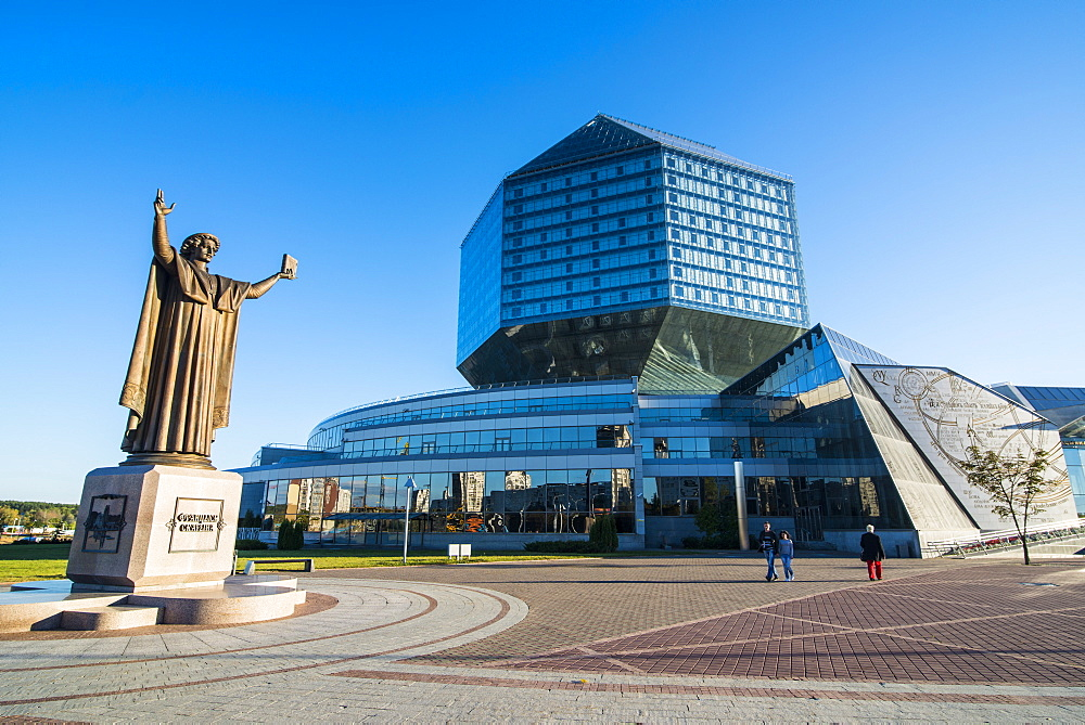 Statue of Francysk Skaryna in front of the National Library of Belarus, Minsk, Belarus, Europe