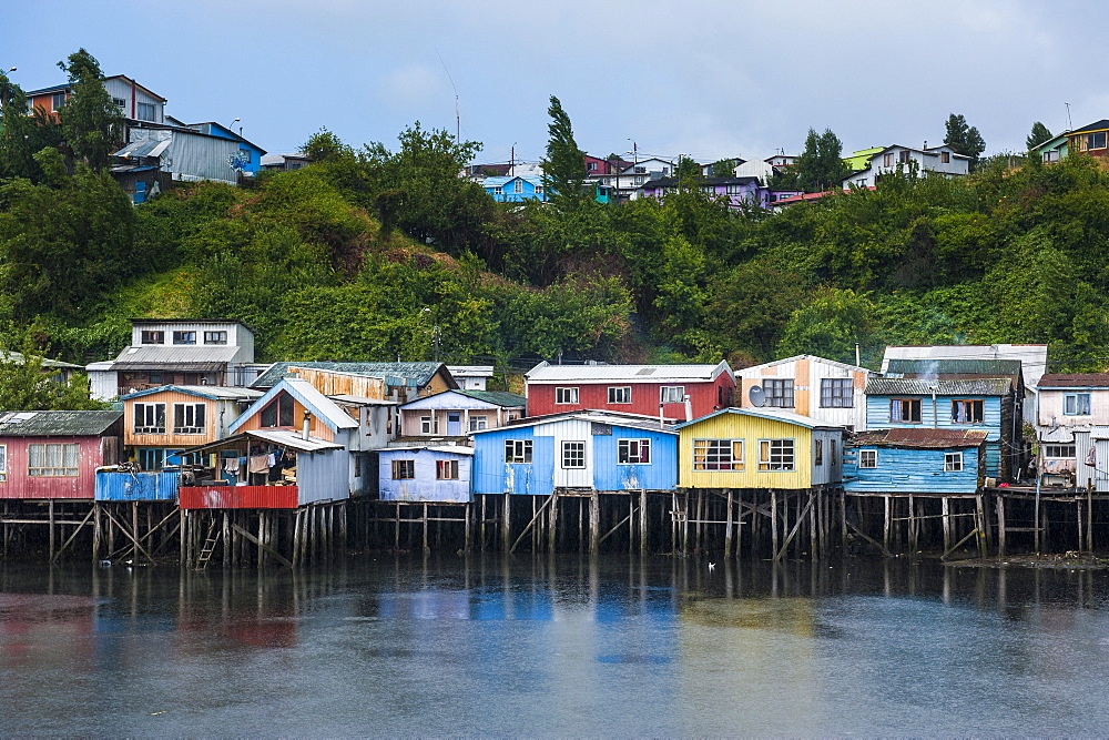 Colourful houses in Castro, Chiloe, Chile, South America
