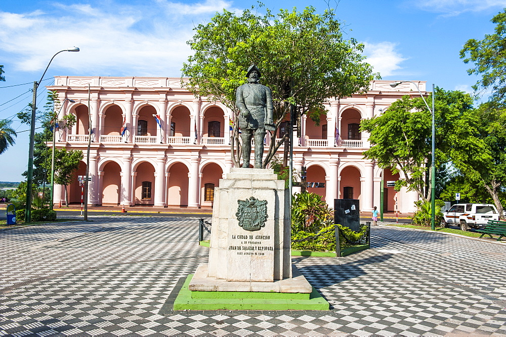 The pink Cabildo, Museum of the National Congress in Asuncion, Paraguay, South America