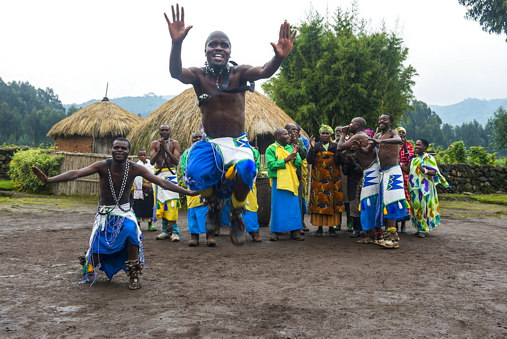 Ceremony of former poachers, in the Virunga National Park, Rwanda, Africa
