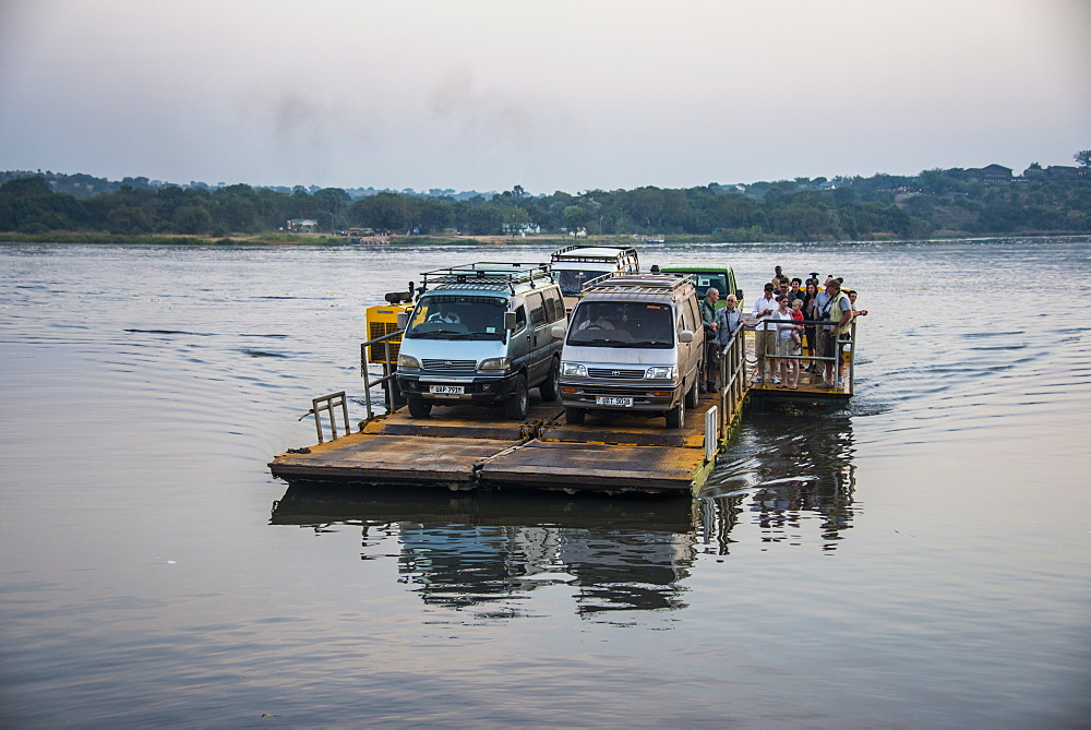 Ferry over the Nile in the Murchison Falls National Park, Uganda, East Africa, Africa