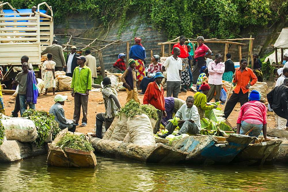Morning market on Lake Bunyonyi, Uganda, East Africa, Africa