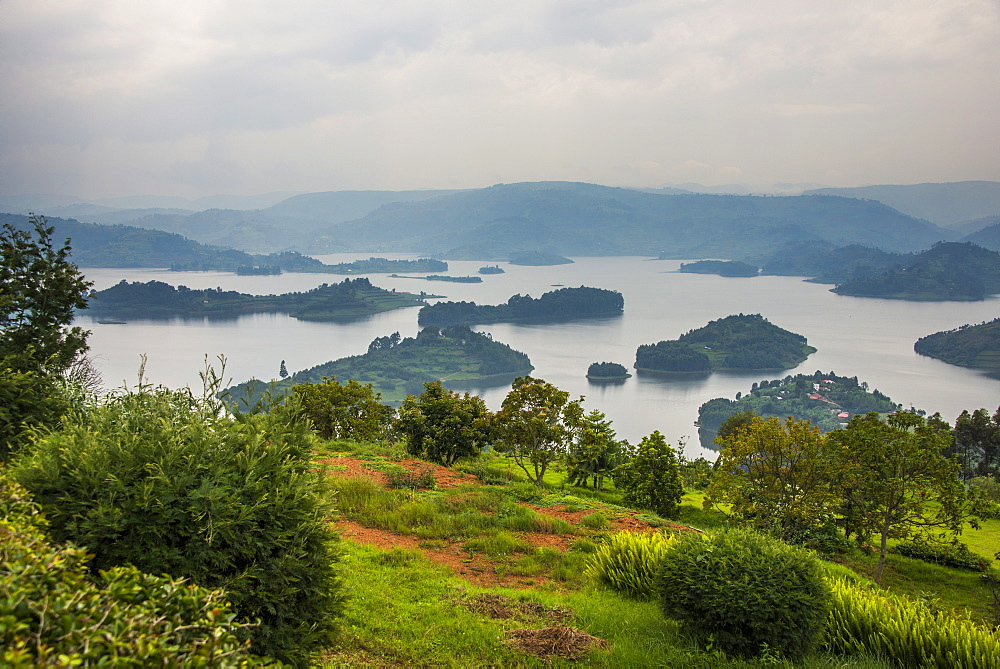 View over Lake Bunyonyi, Uganda, East Africa, Africa