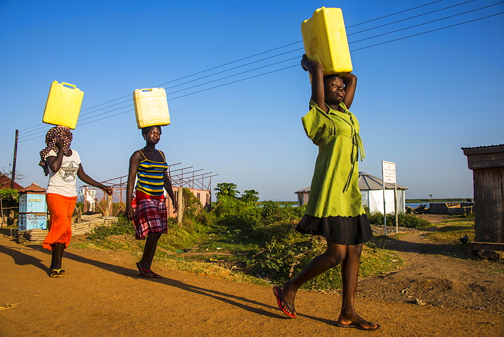 Women carrying water canisters on their head bringing water home from Lake Albert, Uganda, East Africa, Africa