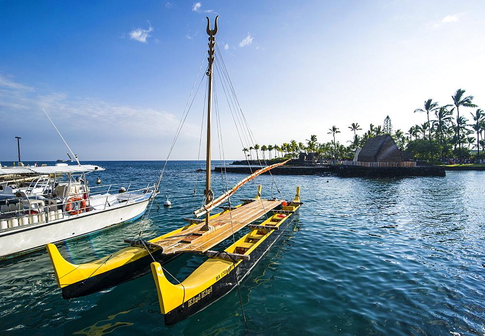 Traditional outrigger boat before the Ahuena Helau, Kailua-Kona, Big Island, Hawaii, United States of America, Pacific