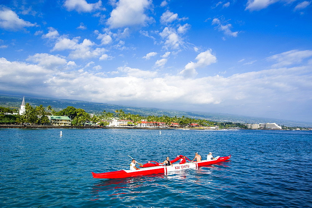 Locals working out in their outrigger canoes, Kailua-Kona, Big Island, Hawaii, United States of America, Pacific