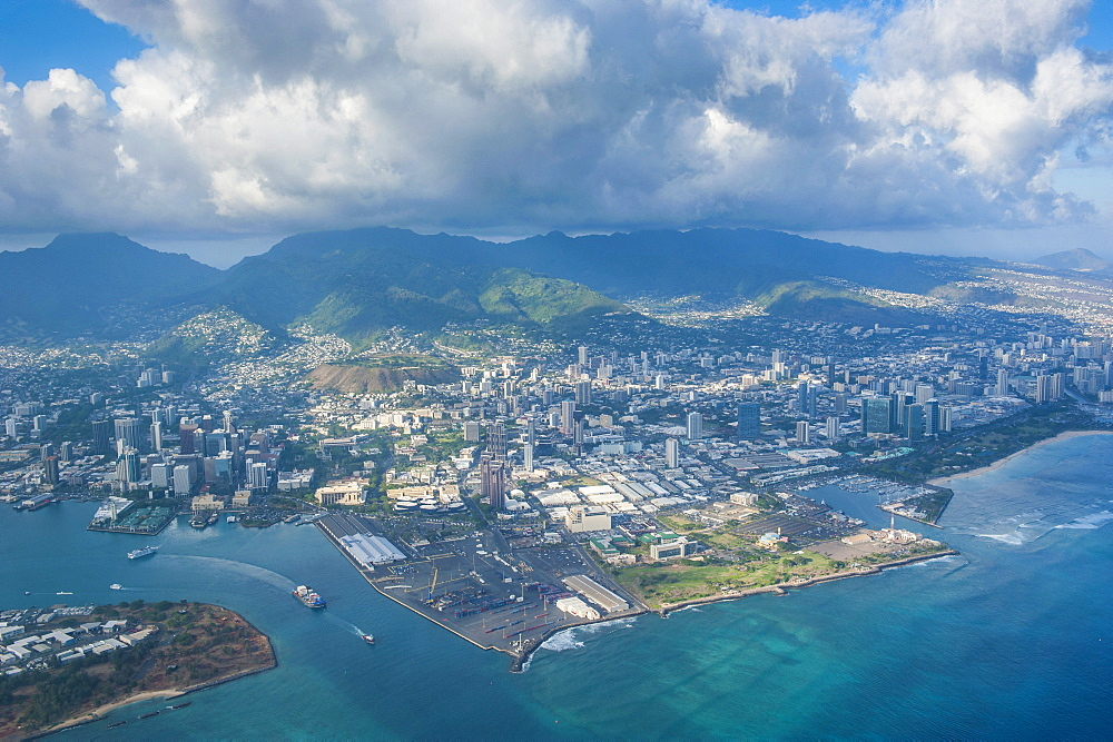 Aerial of Honolulu, Oahu, Hawaii, United States of America, Pacific