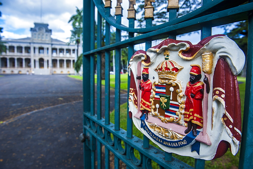 Royal signs before the Iolani Palace, Honolulu, Oahu, Hawaii, United States of America, Pacific
