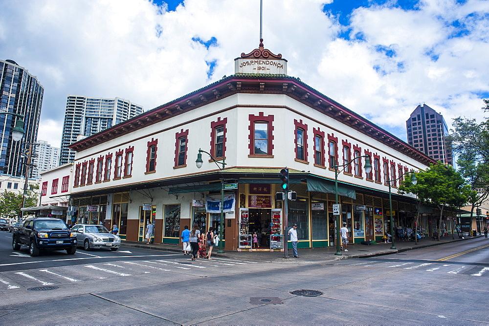 Historic buildigns in downtown Honolulu, Oahu, Hawaii, United States of America, Pacific