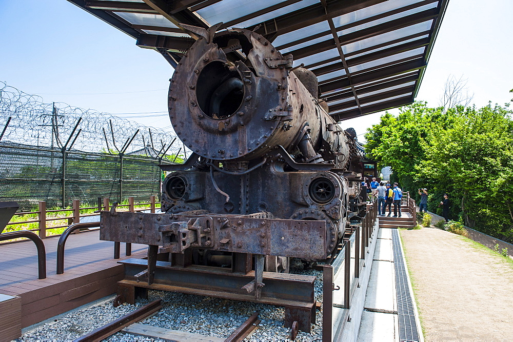 Rusty train at Imjingak, the high security border between South and North Korea, Pammunjom, South Korea, Asia