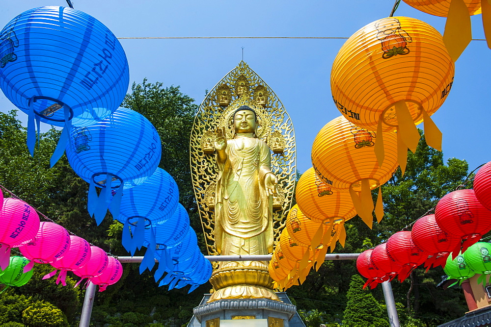 Colourful paper lanterns in front of a golden Buddha in the  fortress of Suwon, UNESCO World Heritage Site, Suwon, South Korea, Asia