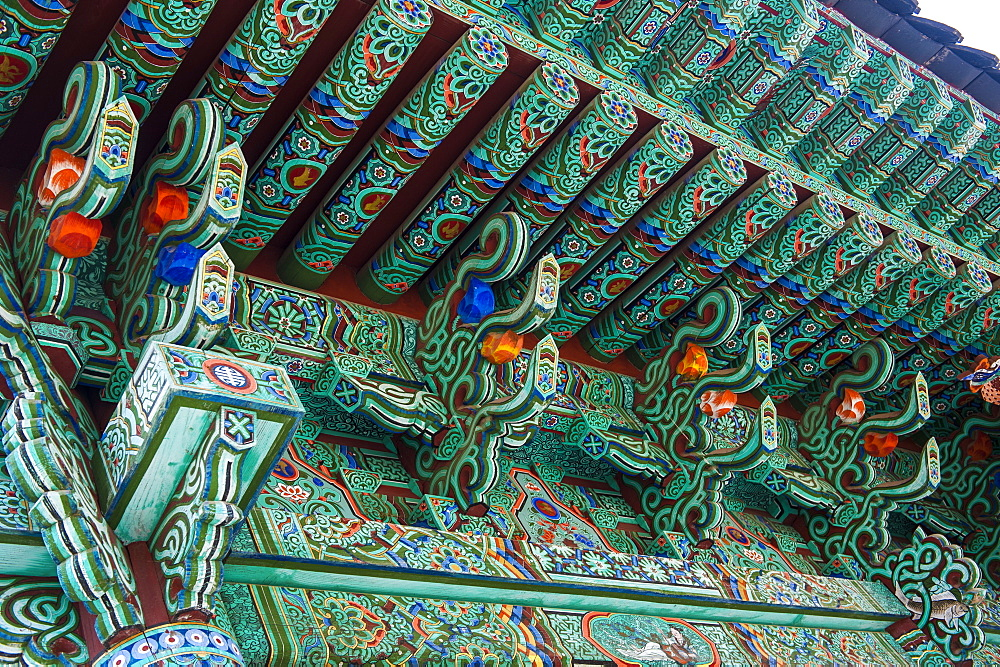 Colourful painted ceiling, Beopjusa Temple Complex, South Korea, Asia